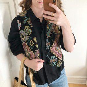 Vintage Bohemian Western Aztec Geometric Knit Vest